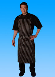 -Full Cut Bib Apron (Black/White Chalk Stripe)