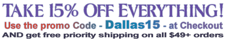 For the 15th anniversary of Dallas Novelty, take 15% off everything & Free Priority Shipping on all orders over $49.