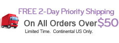 Free Priority Shipping on all orders over $50.