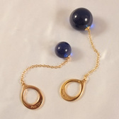 Sylvie Monthule Unisex Gold Ring and Chain with 24mm Insertable Blue Orb