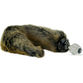 Crystal Delights Minx Glass Butt Plug Faux Fur Tail Red Wolf