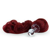 Crystal Delights Crystal Minx Red Detachable Faux Pony Tail Clear Plug Short Stem Small Bulb
