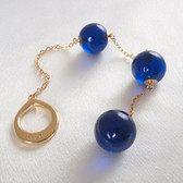 Sylvie Monthule Women's Gold Loop with Blue Insertable Triple Geisha Balls