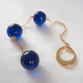 Sylvie Monthule Men's Gold Loop with Blue Insertable Triple Geisha Balls