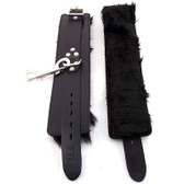 Rouge Garments Black Fur Lined Leather Wrist Cuffs