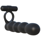 Pipedream Fantasy C-Ringz Posable Partner Double Penetrator Vibrating Silicone Dong Black