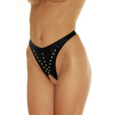 Rimba Leather Black Open-Crotch Thong with Rivets
