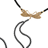 Sylvie Monthule Women's Gold Dragonfly Hematite Beaded G-String with Crystals