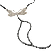 Sylvie Monthule Women's Silver Dragonfly Hematite Beaded G-String with Crystals