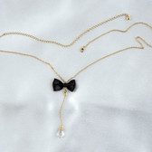 Sylvie Monthule Gold Waist Chain with Bow & Dangling Crystal Pendant