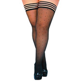 Kix'ies Ally Black Polka Dot No-Slip Thigh High Tights