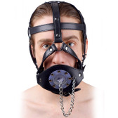 Strict Deluxe Plug It Up Open Mouth Leather Head Harness with Drain Plug