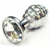 Rouge Garments Stainless Steel Medium Threaded Anal Butt Plug with Jeweled Base