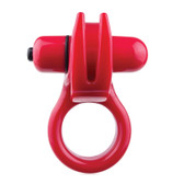 Screaming O 'Orny Rumbling 4-function Silicone Penis Ring with Horns Red