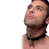 Strict Stainless Steel Heretics Fork Adjustable Neck Restraint with Leather Collar