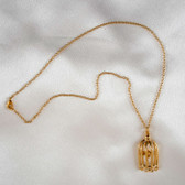 Sylvie Monthule Women's Gold Bird in a Cage Pendant Necklace