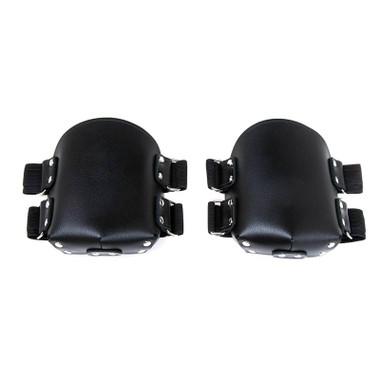 Buy Premium Black Leather Knee Pads with Adjustable Straps - StockRoom