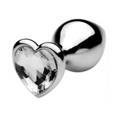 Buy Icy Heart Jeweled Silver Metal Anal Plug Buttplug - XR Brands Frisky
