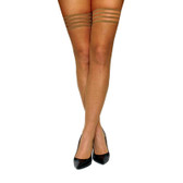 Buy the Samantha Nude Barely There Fishnet No-Slip Thigh High Tights - Kix'ies