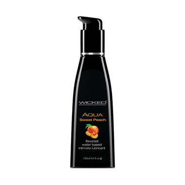 Buy the Aqua Sweet Peach Flavored Water-based Lubricant 4 oz - Wicked Sensual Care