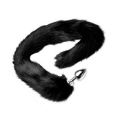 Buy the Extra Long Black Furry Mink Tail with Metal Anal Plug buttplug animal roleplay- XR Brands Tailz