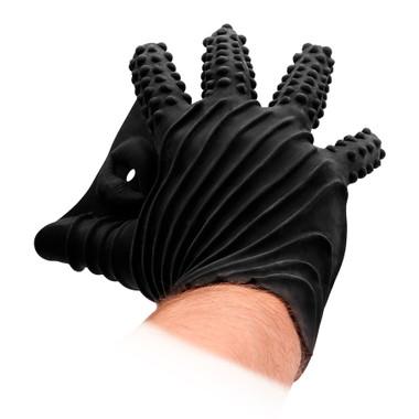 Buy the Black Silicone Textured Masturbation Glove - Shots America Fist It