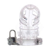 Buy the Man|Cage Locking Male Chastity Cage 02 Small Clear - Shots Toys