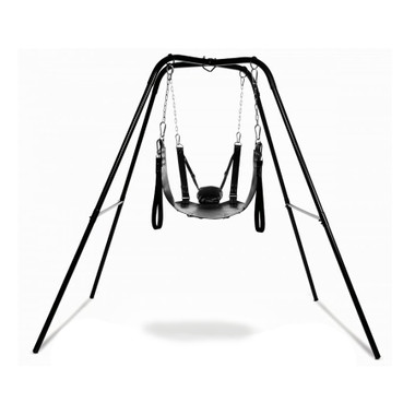 Buy the Extreme Black Leather Intimate Sling with Metal Swing Stand - XR Brands Strict