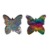 Buy the Rainbow & Silver Color Flip Glitter Sequined Butterfly Nipple Pasties - Pastease