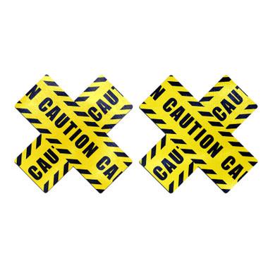 Buy the Caution Tape Cross Nipple Pasties - Pastease