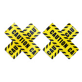 Buy the Caution Tape Cross Nipple Pasties - Pastease