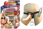 All American Whoppers Vibrating 6.5 inch Dong With Universal Harness Flesh