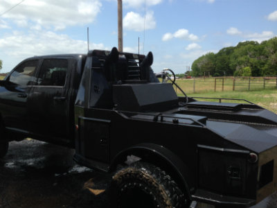 monster auxiliary fuel tank on Dodge Truck with Hauler bed