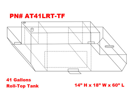 AT41LRT-TF - DOT Legal Transfer Tank  PN# AT41LRT-TF. 41 gallon aluminum transfer tank for use with a roll-top bed cover (cannister style bedcover). Legal for use with Diesel, Gasoline, Ethanol, Methanol and Aviation Fuel. Made by Aluminum Tank & Tank Accessories, Inc.