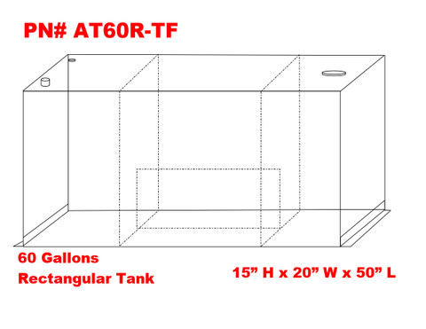 AT60RTF - DOT Legal Transfer Tank  PN# AT60RTF. 60 gallon aluminum rectangular transfer tank. Legal for use with Diesel, Gasoline, Ethanol, Methanol and Aviation Fuel.  Made by Aluminum Tank & Tank Accessories, Inc.