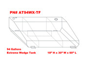 AT94WXTF - DOT Legal Transfer Tank  PN# AT94WXTF. 94 gallon aluminum extreme wedge transfer tank. Legal for use with Diesel, Gasoline, Ethanol, Methanol and Aviation Fuel.  Made by Aluminum Tank & Tank Accessories, Inc.