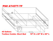 AT45TTTF - DOT Legal Transfer Tank  PN# AT45TTTF. 45 gallon aluminum transfer tank and toolbox combination. Legal for use with Diesel, Gasoline, Ethanol, Methanol and Aviation Fuel.  Made by Aluminum Tank & Tank Accessories, Inc.