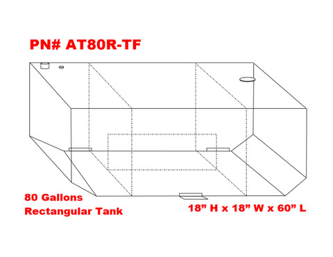AT80RTF - DOT Legal Transfer Tank PN# AT80RTF. 80 gallon aluminum rectangular transfer tank. Legal for use with Diesel, Gasoline, Ethanol, Methanol and Aviation Fuel. Made by Aluminum Tank & Tank Accessories, Inc.