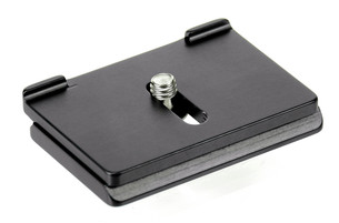 Camera quick release plate for the Nikon D850.  The prongs will prevent your camera from slipping or twisting in the clamp when you recompose a shot.