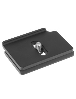 Camera specific, Arca-Swiss compatible, quick release plate. This plate is designed to prevent unnecessary twisting while your camera is mounted on the tripod head.