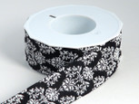 Black and White Baroque Floral Ribbon | 1 1/2 Inches Wide | 22 Yrds