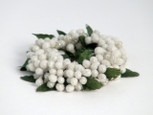 Small 3 inch Micro Beaded Rice Berry Candle Ring - White