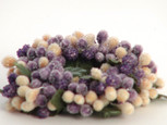 Small 3 inch Micro Beaded Rice Berry Candle Ring - Purple & Cream