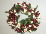 Small 3 inch Rice Berry Candle Ring - Burgundy and Cream