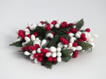 Small 3 inch Rice Berry Candle Ring - Red and White