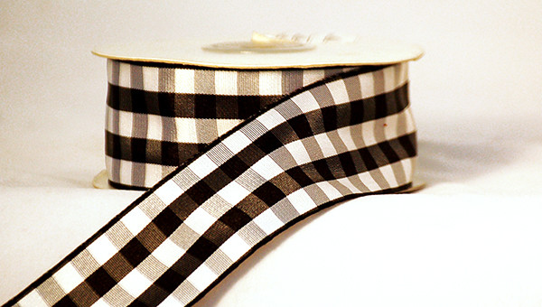 Black And White Checkered Gingham Ribbon