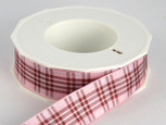 Raspberry Plaid Ribbon, 2 widths, 20 yards per roll