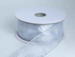 Wired Snowflake White/Silver Sheer Ribbon | 2-1/2 inch width | 50 yards