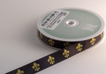 Fleur de Lys Black and Gold Ribbon, 5/8 inch width, increments of 5 yards
