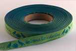 Welcome Little Darling Ribbon, 5/8 inch, increments of 5 yards or 27-yard roll.